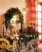 Old range, decorated for Christmas with twigs and sweets