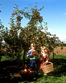 Zwei Kinder mit Äpfeln unterm Apfelbaum