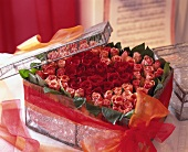 Heart-shaped box filled with roses