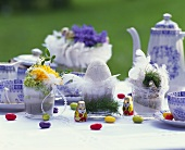 Easter table laid in open air