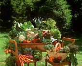 Vegetable still life on table and chairs in garden