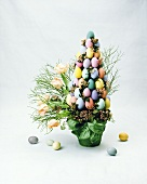 Arrangement of tulips and Easter eggs