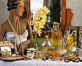 Still life on dressing table: ladies' accessories