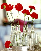 Red carnations in glass bottles on a tray