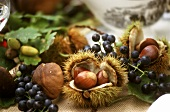 Autumn fruits: sweet chestnuts, grapes, mushrooms etc.