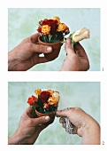 Kleines Rosengesteck selbermachen