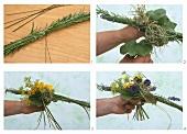 Tying a bouquet of flowers