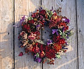 Wreath of dried flowers and rose hips