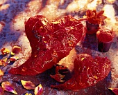 Red hearts and flower petals