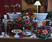 Elegant flower arrangements with roses as table decorations