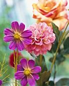 Cosmos, dahlias and roses (fabric flowers)