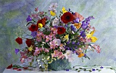 Summer bouquet of poppies, bluebells, Peruvian lily etc.