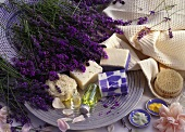 Natural body care products, lavender soap, oil, bath salts