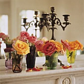 Roses on a ledge in front of a mirror