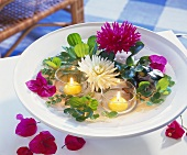 Dahlias and bougainvilleas in light of floating candles