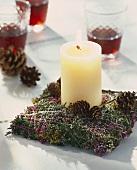 Brennende Kerze auf Heide-Moosbett mit Zapfen