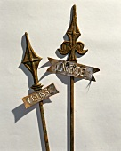 Metal plant stakes with rusty patina, with labels