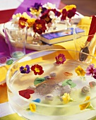 Colourful table decoration with primulas, for children