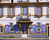 The decorated facade of the Jose-Maria da Fonseca winery, Azeitao, Portugal