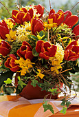 Arrangement of tulips, hyacinths and narcissi