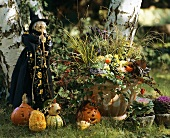 A garden decorated for Halloween