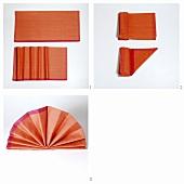 Folding a napkin into a fan