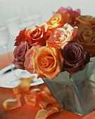 Bouquet of roses as table centre for champagne reception