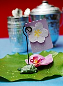 Place-card with flower for Thai meal