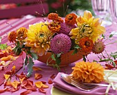 Late summer arrangement of dahlias and zinnias