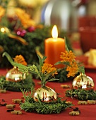 Christmas decoration with Christmas tree baubles & silkweed