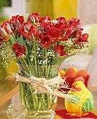 Parrot tulips with gypsohila and Easter decorations