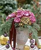 Christmassy arrangement of roses