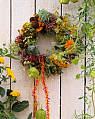 Herb wreath with elecampane, chervil, marigold, marjoram, dill