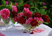 Old roses in glass bowl and wine glasses