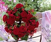 Wreath of roses, Monarda, Potentilla and ivy