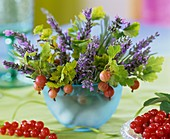 Small summery arrangement of lavender and berries