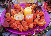 Bowl of candles and Chinese lanterns