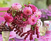 Arrangement with pink dahlias