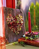 Heart in dried hydrangea flowers