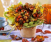 Arrangement of rose hips, maple leaves and Chinese silvergrass