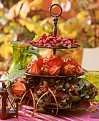 Tiered stand with autumn decorations