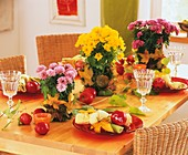 Autumnal table with chrysanthemums