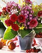 Arrangement of dahlias, Hosta leaves, Phlox and lady's mantle