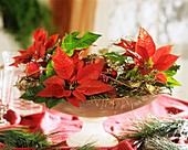 Poinsettias in glass bowl with Christmas decorations
