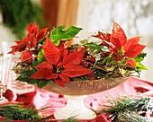 Glasschale mit Weihnachtsstern weihnachtlich dekoriert