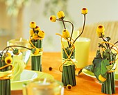 Ungewöhnliche Tischdeko: Sträuße aus Parakresse (Spilanthes oleracea) verkleidet mit Stielen von Riesenknöterich