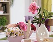 Rosa canina (dog rose), shrub roses, Paeonia (peonies)