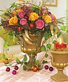 Arrangement of roses for Christmas