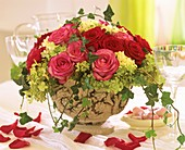Roses with hydrangeas and trailing ivy