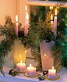 Candle decoration with Arizona cypress